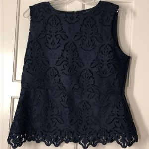 Ann Taylor Lace Shell Botanical Lace navy Blue